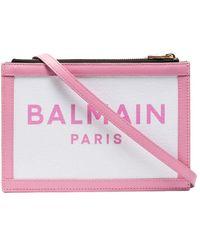 Balmain Двухцветная Сумка На Плечо С Логотипом - Розовый