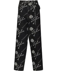 Mastermind Japan Logo-print Loose-fit Jeans - Black