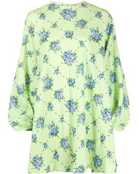 Emilia Wickstead Robe oversize à manches bouffantes - Vert
