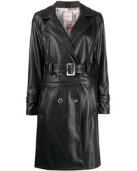 Urbancode Belted Faux-leather Trench Coat - Black