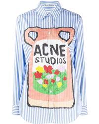 Acne Studios - Chemise rayée à logo - Lyst