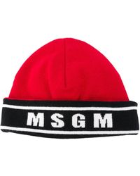 MSGM Logo-knit Beanie - Красный