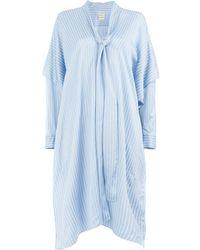 Maison Rabih Kayrouz Flared Striped Dress - ブルー