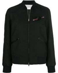 Valentino - Heart Embroidered Bomber Jacket - Lyst
