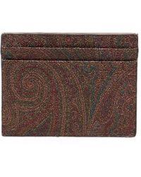 Etro カードケース - ブラウン