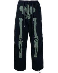 Kapital Gerade Hose mit Skelett-Print - Blau