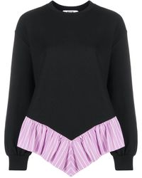 MSGM Ruffle Trim Sweatshirt - ブラック