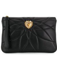 Dolce & Gabbana Heart キルティングポーチ - ブラック