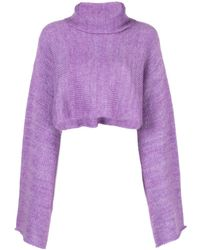 Sally Lapointe Cropped Bell-sleeves Jumper - Purple