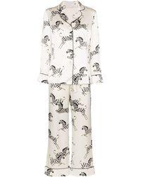 Olivia Von Halle Pijama Lila con estampado de cebra - Blanco
