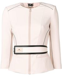 Elisabetta Franchi - Fitted Jacket With Belt - Lyst