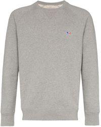 Maison Kitsuné - Tricolour Fox Patch Cotton Sweatshirt - Lyst