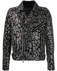 Balmain Декорированная Байкерская Куртка - Черный