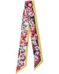 Dolce & Gabbana Violet Print Twill Bandeau - Red