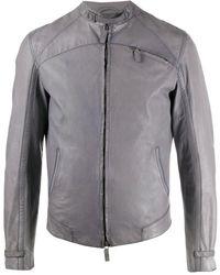 Giorgio Armani 2008 Fitted Leather Jacket - Gray