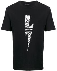Neil Barrett Lightning Bolt Print T-shirt - Black