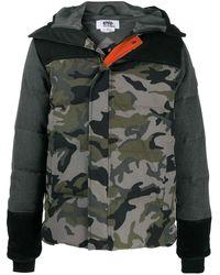 Junya Watanabe Camouflage-print Zip-up Coat - Grey