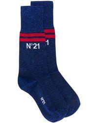 N°21 ロゴ靴下 - ブルー