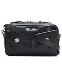 Miu Miu フラップポケット ショルダーバッグ - ブラック
