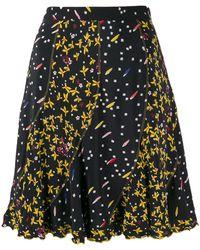 10 Crosby Derek Lam Bronte Mixed Jasmine Floral Print Flare Skirt - Black