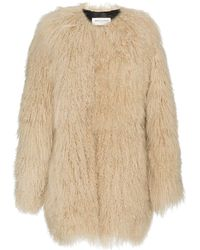 Saint Laurent Oversized Mongolian Lamb Fur Coat - Naturel