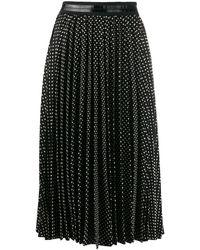 COACH ポルカドット プリーツスカート - ブラック