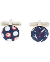 Fefe Button And Needle Print Cufflinks - Red