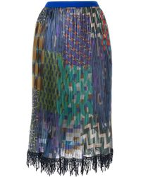 Kolor - Mixed-print Pleated Skirt - Lyst