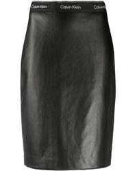 Calvin Klein アニマルフリーレザー ペンシルスカート - ブラック