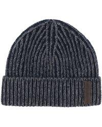 Ermenegildo Zegna Cashmere Ribbed Beanie Hat - Blue