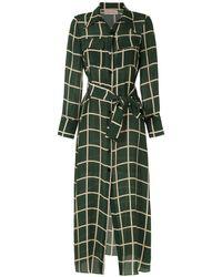 Adriana Degreas Vestido camisero con motivo de cuadros - Verde