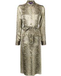 Ralph Lauren Collection Robe-chemise à imprimé peau de serpent - Marron