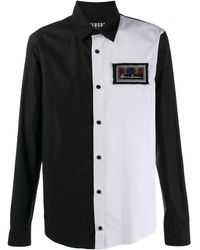 Versus Two Tone Long Sleeve Shirt - Black