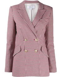 10 Crosby Derek Lam Rodeo Double Breasted Gingham Twill Blazer - Pink