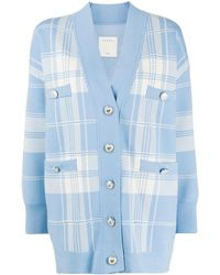 Sandro Jeck Plaid Knit Cardigan - Blue