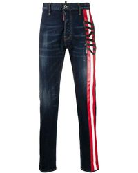 DSquared² Splatter-print Stripe-side Jeans - Blue