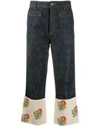 Loewe パネル クロップドジーンズ - ブルー