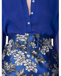 Carolina Herrera シルクシフォン シャツ - ブルー