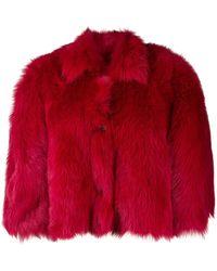 RED Valentino Укороченная Шуба Свободного Кроя - Красный