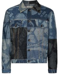 Liam Hodges Foreshore Patchwork Denim Jacket - Blue