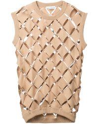 Paco Rabanne Diamond Cut-out Jumper Vest - Brown