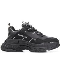 Balenciaga Allover Logo Triple S Sneakers - Black