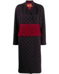Missoni Belted Herringbone Wool-blend Coat - Blue