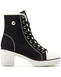 Giuseppe Zanotti Shearling-lined Canvas Sneaker Boots - Black