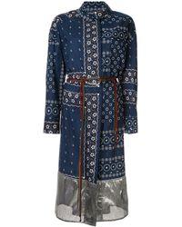 Kolor プリント ラップドレス - ブルー