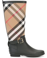 Burberry Belt Detail Check And Rubber Rain Boots - Black