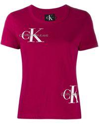 Calvin Klein T-shirt Met Geborduurd Logo - Roze