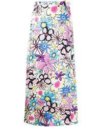 Mira Mikati Flower Print Skirt - White
