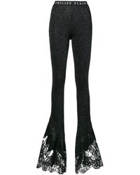 Philipp Plein Flared Ribbed Knit Trousers - Черный