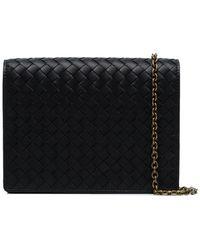 Bottega Veneta Black Intrecciato Leather Wallet On A Chain - Zwart